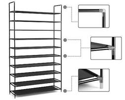 10 Tier Stackable Shoe Rack Storage Shelves Stainless Steel
