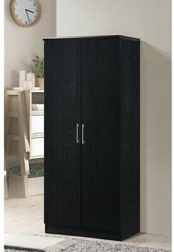 Armoire Wardrobe 2-Door Black With 3 Adjustable Shelves Or H