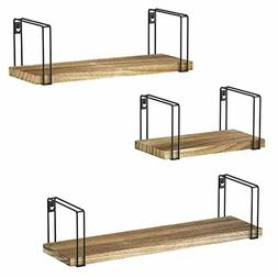 Rustic Wood 3 Floating Shelves Storage Wall Mounted for bedr