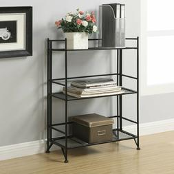 3 Shelves Wide Bookcase Display Stand Shelving Metal Folding