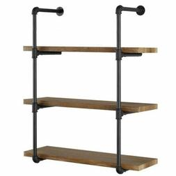 3 Tier Vintage Industrial Iron Pipe Wall Shelves Storage DIY