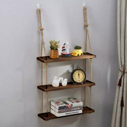 Decorative Hanging 3 Tier Natural Wood Floating Wall Shelves