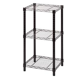 3-Tier Black Wire Shelving Tower