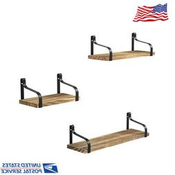 3pcs Floating Shelves Wall Mounted Rustic Wood Wall Storage