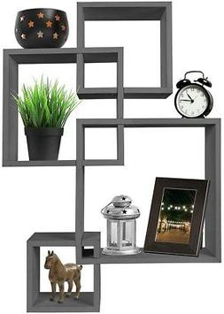 Greenco 4 Cube Intersecting Wall Mounted Floating Shelves Gr