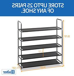 Halter 5 Tier Stackable Shoe Rack Storage Shelves - Stainles