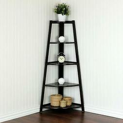 5 Tiers Corner Shelf Stand Wood Display Storage Rack Home Fu