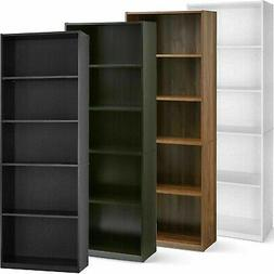 "71"" Tall Wood 5 Shelf Bookcase Closed Back Storage Shelves B"