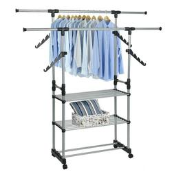 Folding 3-Tier Clothes Rack Hanging Rack Jacket Rack With Sh