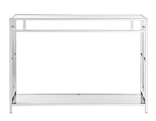 Convenience Concepts Square Table Glass/Chrome Frame