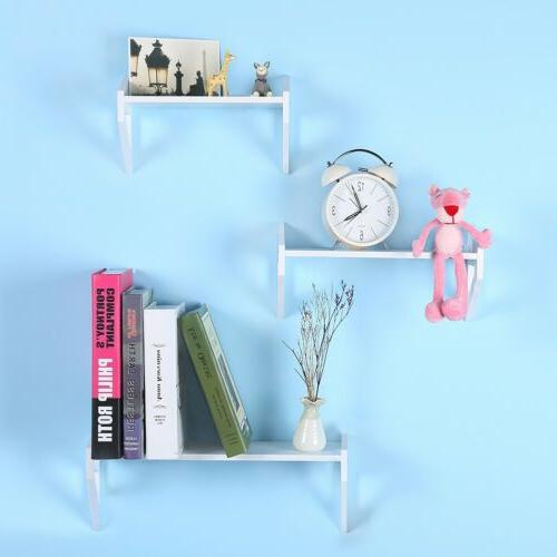 3Pcs MDF Floating Shelves Bookshelf