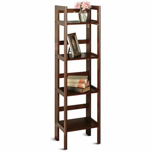 4-Shelf Bookcase Display Shelves Storage Collectible Wood Fo