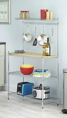 4-Tier Baker's Rack Microwave Oven Stand Shelves Kitchen Sto