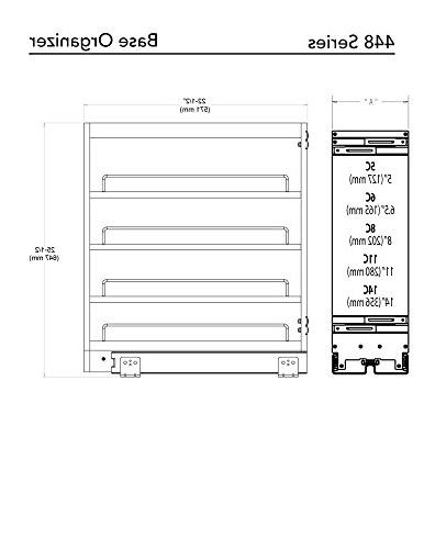 Rev-A-Shelf 448-BC-8C Pullout Organizer with Adjustable Shelves Base 8-Inch