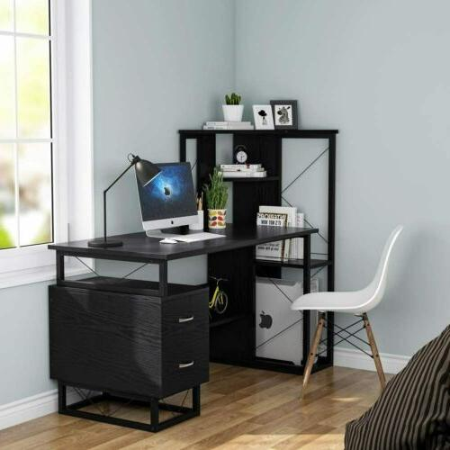 Computer Study Desk with Corner Shelves Drawers 57'' for Home Office