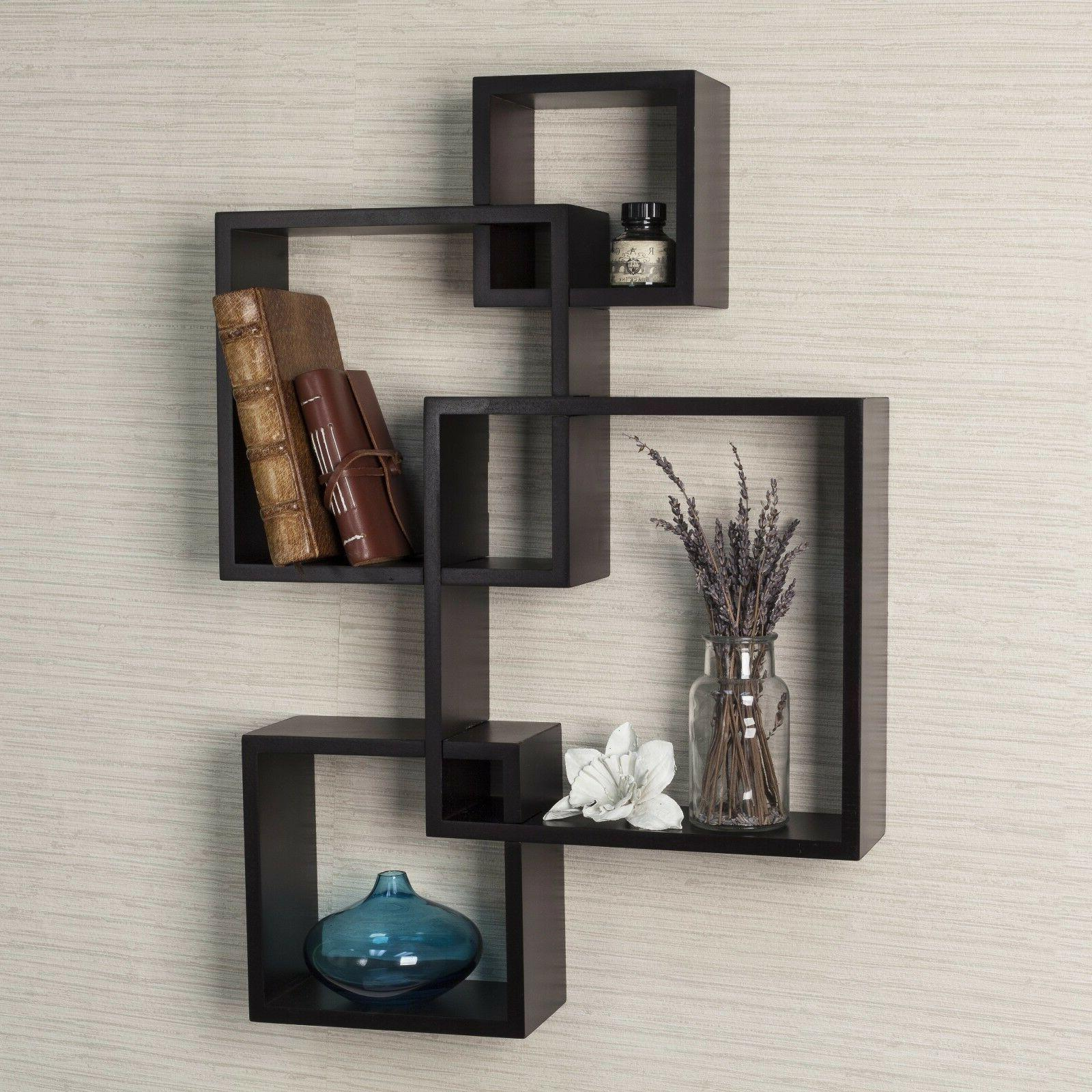 Wall Shelves Floating Intersecting Cubes Book Shelf Espresso