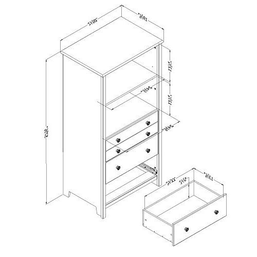 South Shelving with Drawers, Gray