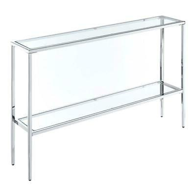nadia chrome metal console table with glass