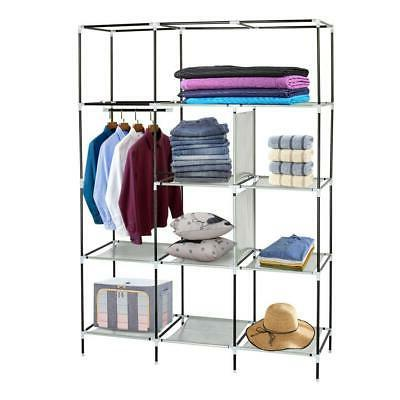 Portable Clothes Rack Storage with Shelves Gray