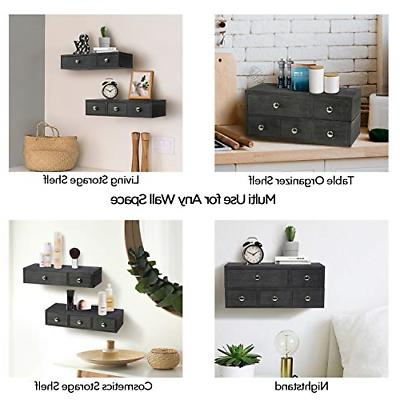 Set of 2 Shelf Drawer Wall Rustic Floating Display