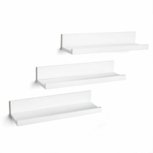 14 Inch White Floating Shelves Wall Mounted Set of 3 Display