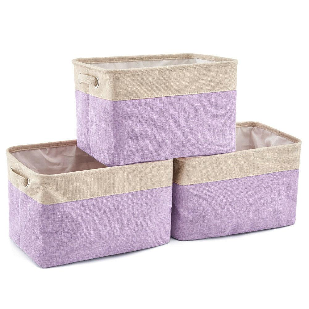 Set Collapsible Fabric Canvas Bins Basket