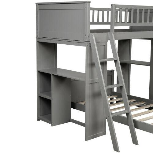 Twin Over Bed with and Shelves Simple Kids