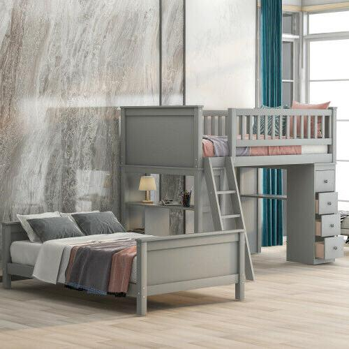 Twin Over Twin Bed with Shelves Simple and Kids Teens