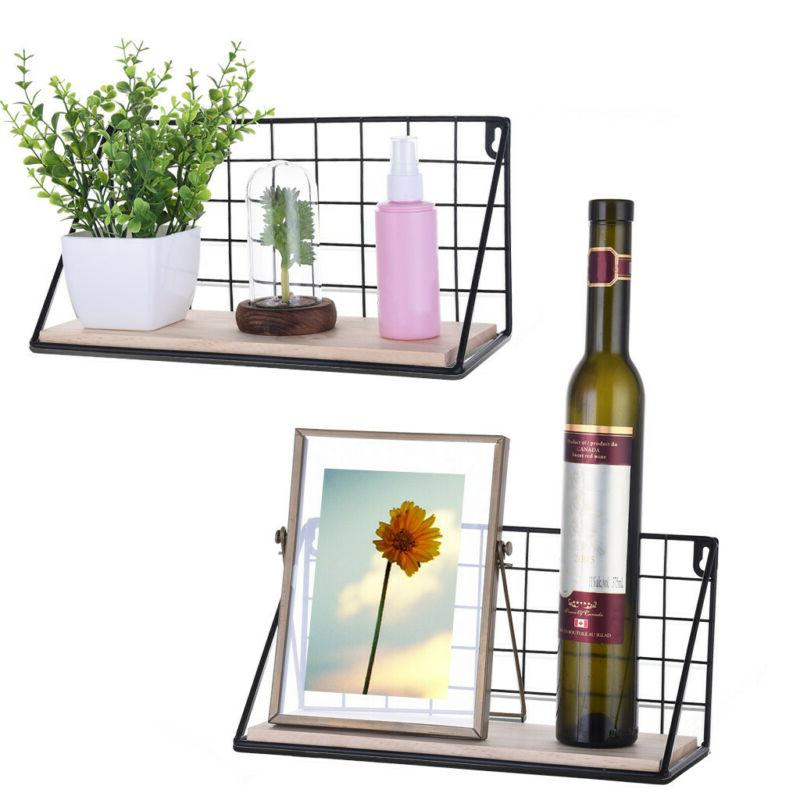 Set Of 2 Floating Shelves Wall Mounted Rustic Metal Wire Sto
