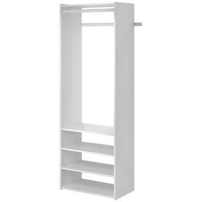 wooden tower closet organizer with shelves