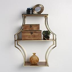 Kate and Laurel Liara Floating 3 Shelves, Walnut Wood and Go