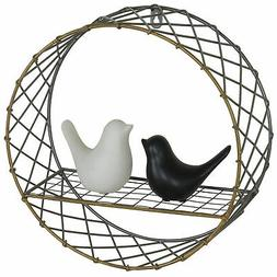 MyGift Metal Wire 12-Inch Round Wall-Mounted Shelf