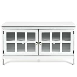 """Modern 50"""" TV Stand Wood Storage Console Unit With 2 Glass D"""