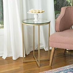 """NEW WE Furniture 16"""" Round Side Table  Glass/Gold FREE SHIPP"""