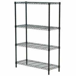 New Wire Shelving Cart Unit 3 Shelves Shelfv Rack Black T53