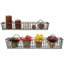 Set of 2 Gray Wall Mounted Metal Wire Storage Basket Shelves