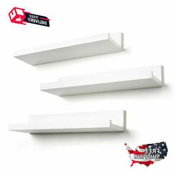 Set of 3 14-inch Modern White Display Floating Wall Shelves