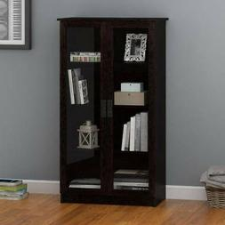 Storage Cabinet With 4 Shelves 2 Glass Doors Bookcase Black