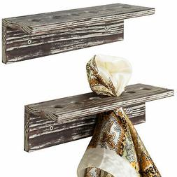 MyGift Wall-Mounted 12-Inch Rustic Torched Wood Scarf Displa