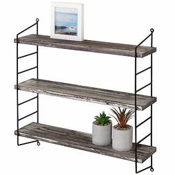 MyGift Wall-Mounted 3-Tier Torched Wood & Metal Adjustable S