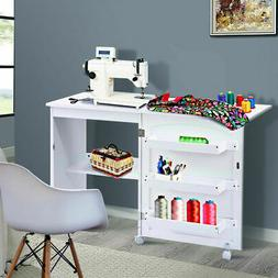 White Folding Sewing Craft Table Shelves Storage Cabinet Hom