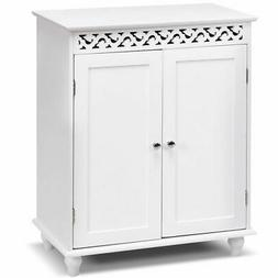 White Wooden Bathroom Floor Cabinet Storage Cupboard 2 Shelv