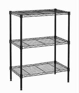 Brand New Wire Shelving Cart Unit 3 Shelves Shelf Rack Black