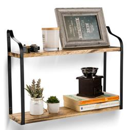 Industrial Wall Shelves Wall Mounted 2 Tier Wood Storage She