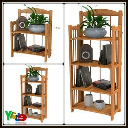 Wooden Book Shelf Foldable Fir And Light Wood Finish Solid W