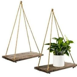 Wooden Retro Hanging Rack Stand Shelf Plant Support Nordic S