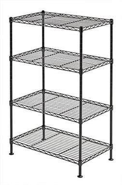 "Sandusky 20""W x 12""D x 32""H Four-Level Wire Shelving, Black"